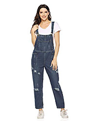 cheap -women's casual adjustable strap ankle length ripped denim overalls, style 1 dark blue, x-large