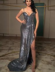 cheap -Sheath / Column Glittering Sexy Wedding Guest Formal Evening Dress V Neck Sleeveless Asymmetrical Sequined with Sequin Split 2021