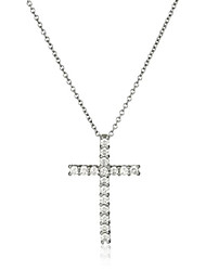 cheap -platinum-plated sterling silver cross pendant necklace set with swarovski zirconia (2 cttw), 18""