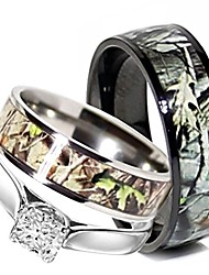 cheap -camo wedding rings set his and hers 3 rings set, stainless steel and titanium (size his 09, hers 09)