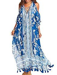 cheap -women's print turkish kaftans chiffon caftan loungewear beachwear bikini swimsuit cover up dress (blue c)