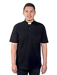 cheap -mens clergy polo short sleeves tab shirt (black) (4xl, black)