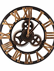 cheap -oversized vintage gear wall clock - wooden & noiseless(19.7 inch, golden, arabic numerals)