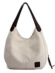 cheap -women canvas purse hobo satchel stylish handbag top handle tote bag shoulder beigewhite