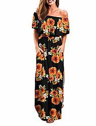 cheap -women's off shoulder summer casual long ruffle beach maxi dress with pockets black