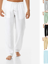 cheap -Men's Casual Pants Sporty Simple  Straight Trousers With Pockets Comfort Cotton Breathable Outdoor Loose Daily Pants Plain Solid Color Elastic Waistband Drawstring ArmyGreen Yellow Gray Green White