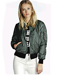 cheap -Women's Zipper Faux Leather Jacket Regular Solid Colored Going out Black Wine Green S M L XL