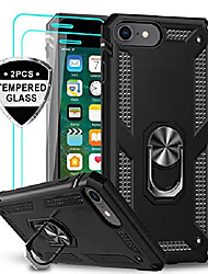 cheap -iphone se 2020 case with tempered glass screen protector [2 pack], [military grade] protective phone case with magnetic car mount ring kickstand for iphone se 2nd generation (2020), black