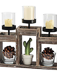 cheap -- rustic wood decorative candle holder centerpiece, 3 glass votive cups on wood base/tray for dining room table & coffee table decor -mk586a