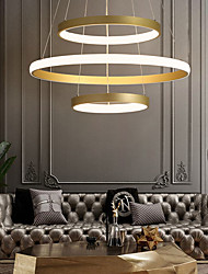 cheap -1-Light LED70W Circle Chandlier Aluminum Gold Painted for Living Room Bedroom Office Cafes Bar Warm White / White / Dimmable With Remote Control/24/16/12inch Three Rings