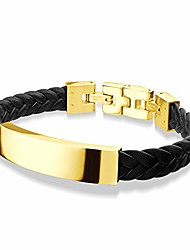 cheap -stainless steel shine plate twist braided rope knot leather chain metal single lock clasp adjustable jewelry accessory women men unisex fashion bangle bracelet, yellow gold