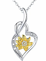 cheap -sunflower necklace 925 sterling silver you are my sunshine heart pendant jewelry christmas anniversary birthday gifts for her women