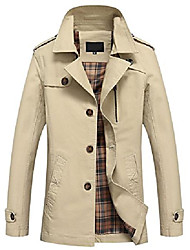 cheap -men's gentle notch collar single breasted check lined windbreaker trench coat (medium, army)