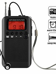 cheap -pocket radio, portable am fm radio alarm clock & sleep timer with clear loudspeaker, digital tuning stereo radio with 3.5mm headphone jack for walking jogging camping