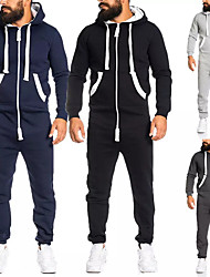 cheap -Men's Full Zip One-piece Jumpsuit Tracksuit Sweatsuit Street Athleisure 2pcs Winter Long Sleeve Thermal Warm Breathable Soft Fitness Gym Workout Running Jogging Training Sportswear Solid Colored