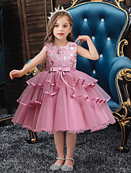 cheap -Kids Little Girls' Dress Solid Colored Layered Dress Mesh Patchwork Bow Blue Red Blushing Pink Knee-length Sleeveless Basic Sweet Dresses Regular Fit