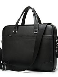 cheap -Men's Bags Cowhide Shoulder Messenger Bag Laptop Bag Briefcase Zipper Office & Career Handbags Black