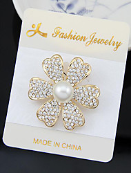 cheap -Women's Pearl Brooches Classic Flower Fashion Imitation Diamond Brooch Jewelry Gold For Daily Party & Evening Festival