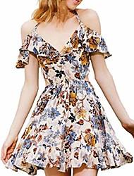 cheap -vestido womens summer ruffles cold shoulder sleeveless dress evening party dress(s, orange)