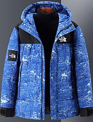 cheap -Men's Women's Down Parka Solid Colored POLY Black / Blue M / L / XL