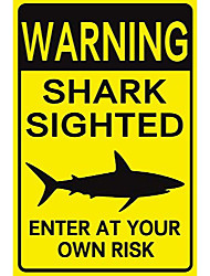 cheap -new tin sign warning shark sighted enter at your own risk with graphic dangerous aluminum metal sign 8x12 inch