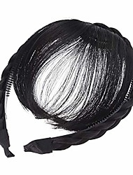cheap -front hair bangs wig headband braids hair accessories (black)