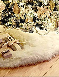cheap -35.4 inches christmas tree skirts white luxury faux fur tree ornaments plush xmastree skirt for christmas decoration new year party (35.4 inch dia.)