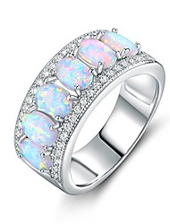 cheap -18k white gold plated oval-cut created fire opal & cubic zirconia ring (white gold, 8)