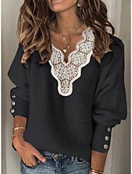 cheap -Women's Knitted Lace Trims Solid Color Jumper Cotton Long Sleeve Sweater Cardigans V Neck Fall Winter White Black Blue