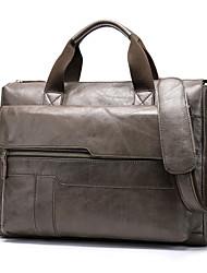 cheap -Men's Bags Cowhide Shoulder Messenger Bag Laptop Bag Briefcase Zipper Going out Office & Career Handbags Black Grey Gray