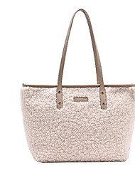 cheap -Unisex Bags Faux Fur Tote Top Handle Bag Zipper Outdoor Office & Career Fur Bag 2021 Handbags White Black Blue Khaki