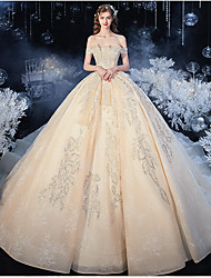 cheap -Ball Gown Wedding Dresses Strapless Watteau Train Organza Cap Sleeve Formal Romantic Elegant with Pleats Crystals 2020