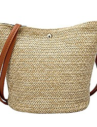 cheap -straw bucket tote bag for women,girl woven crossbody bag shoulder purse handbag (brown)