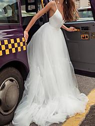 cheap -A-Line Wedding Dresses V Neck Court Train Satin Tulle Sleeveless Beach with 2021