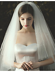 cheap -Three-tier Classical Wedding Veil Fingertip Veils with Beading / Solid Tulle