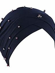 cheap -women solid beading india hat muslim ruffle cancer chemo beanie turban wrap cap(navy)