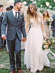 cheap -A-Line Beach Wedding Dresses Lace V Neck Sweep / Brush Train  Long Sleeve with Appliques Bridal Dress 2020