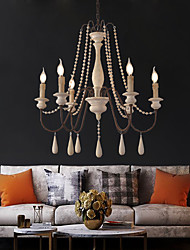 cheap -6-Light 6 Lights Vintage Candle Chandelier/ Wood Pendant Light Coffee Bar Rustic Lamp for Living Room Dinning Room Resturant Lights/ E12/E14 without Bulb