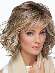 cheap -Synthetic Wig Curly With Bangs Wig Short Light Brown Synthetic Hair Women's Fashionable Design Classic Cool Light Brown