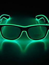 cheap -led glasses adjustable neon light up glasses, party favors glowing luminous led sunglasses (black frame + clear lenses)