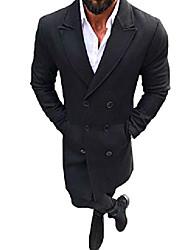 cheap -fashion men's trench coat double breasted woolen pea coat overcoat windbreaker jacket (black, m(fit us xs))