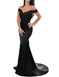 cheap -mermaid formal dress women evening gown v neck top lace bridesmaid dresses long black size 22w