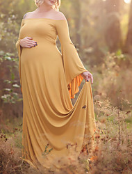 cheap -Women's Swing Dress Maxi long Dress - Long Sleeve Solid Color Patchwork Fall Off Shoulder Plus Size Elegant Beach Butterfly Sleeve Cotton Loose 2020 Red Yellow Blushing Pink Dusty Blue XXL 3XL 4XL 5XL