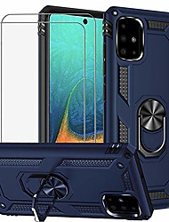 cheap -for samsung galaxy a51 (4g version) case & tempered glass screen protector [2 pack], rugged anti-scratch shockproof kickstand cover compatible magnetic car mount grip, blue