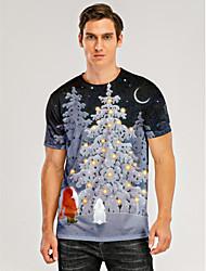 cheap -Men's T shirt 3D Print Graphic 3D Print Short Sleeve Christmas Tops Black / Gray