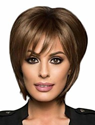 cheap -curly short bob wig, female full wavy hair wigs heat resistant synthetic fiber for black women cosplay party wig (brown)