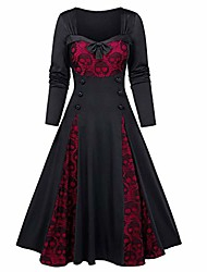 cheap -retro halloween skull print bandeau maxi dress classic medieval halloween pleated long dresses plus size red