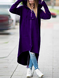 cheap -Women's Solid Colored Fall & Winter Trench Coat Long Daily Plus Size Long Sleeve Cotton Blend Coat Tops Black / Loose