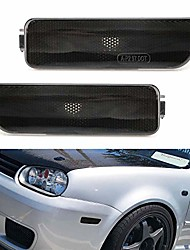 cheap -euro smoked lens front bumper side marker lamps housings compatible with 1999-2005 volkswagen mk4 golf gti r32 rabbit jetta, replace oem amber sidemarker lamps
