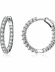 cheap -earrings 925 sterling silver dangler for women girls classic crystal ear hoop (cactus)